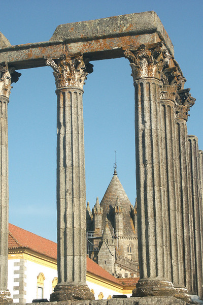 View of the cathedral through Roman ruins just outside the Pousada in Evora.