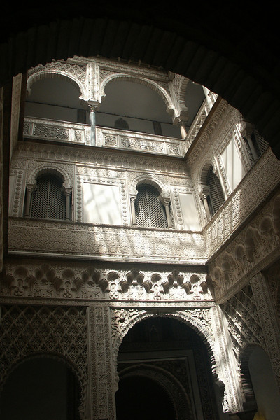 Shadows in the Alcazar, originally built in the 10th century for the Moorish goveners of Spain.