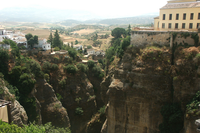 "A gorge that the town of Ronda spans; one of the largest ""white towns"" in Spain"