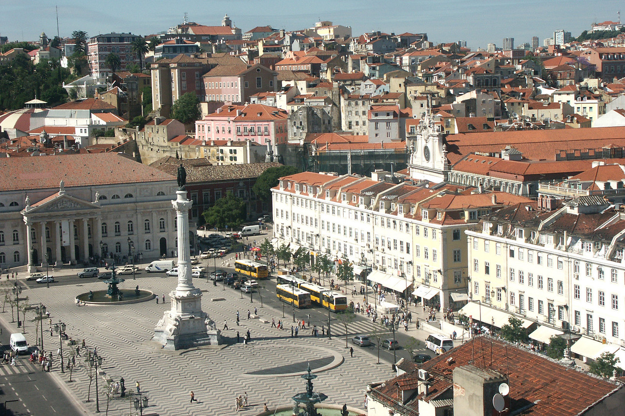 The major plaza in central Lisbon, Portugal.