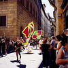 Within the walled part of Siena, we happened upon a small parade and medieval flag display.