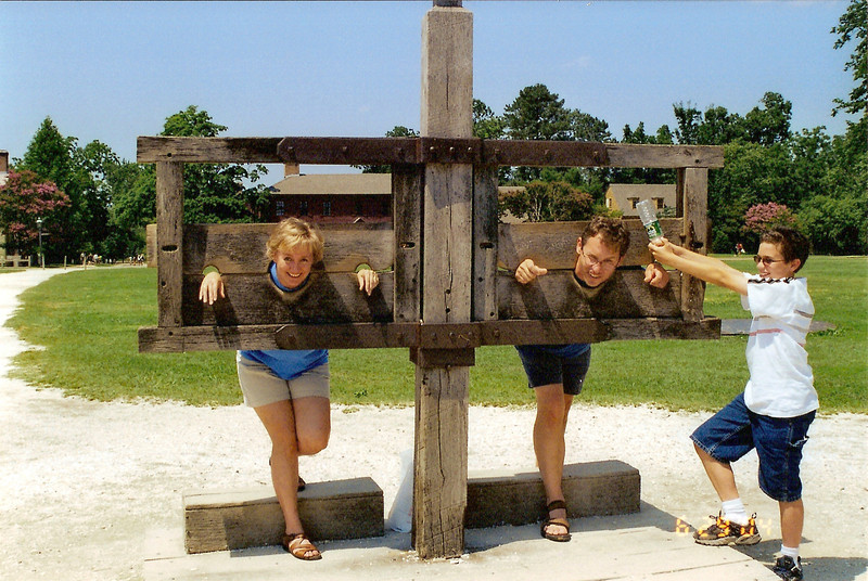 Tracey & Brad in the stocks; Kevin, the enforcer