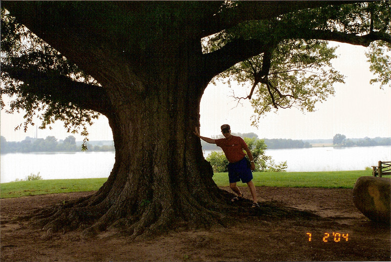 Dwaine - isometrics against venerable tree - at James River