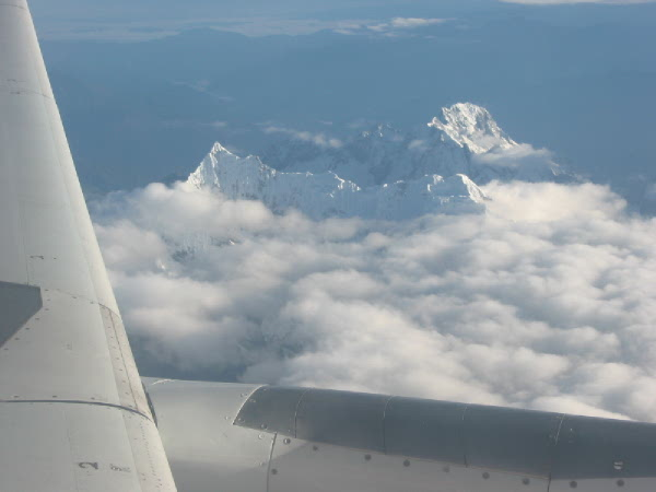 Flying over the Andes and into the Peruvian city of Cusco.
