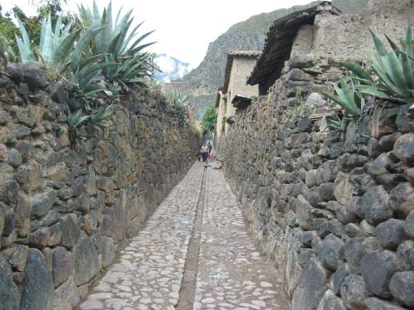 The city of Ollantaytambo came close to what an original Inca village might have been like.  The walls and streets are from the Inca times and the houses are built on the original Inca foundations.
