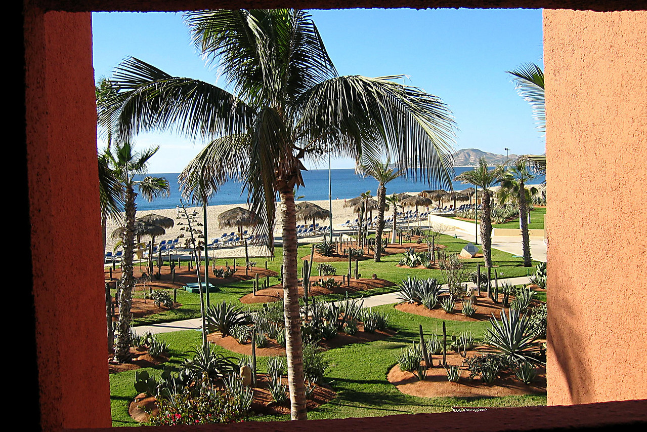 View of the hotel grounds - the Intercontinental El Presidente -<br /> from a window. Los Cabos is at the tip of the Baja peninsula.