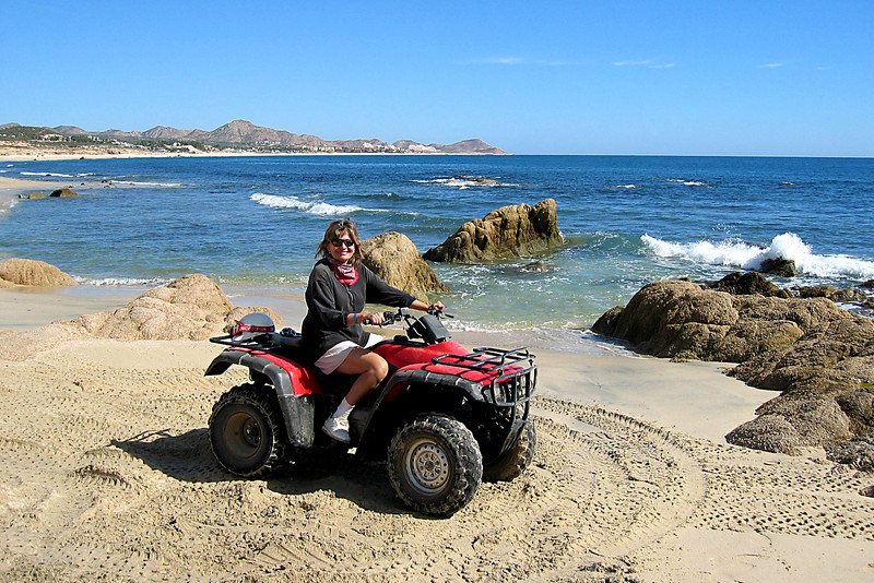 Judith on the ATV we used for a tour of the mountains and beach.