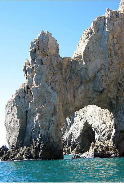 A closer view of Land's End Arch.