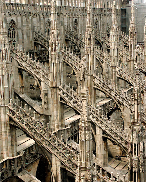 The spires of the duomo in Milan.