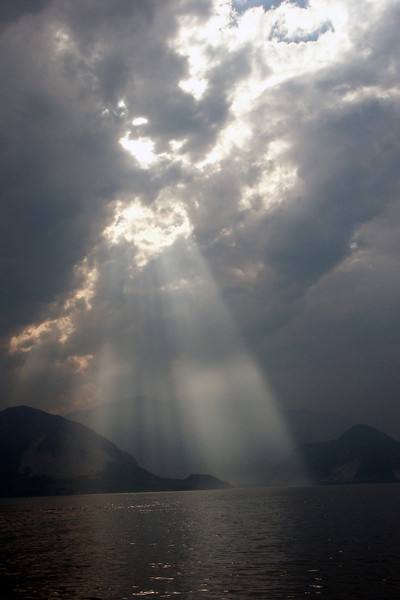 Sunbeams on Lake Maggiore.