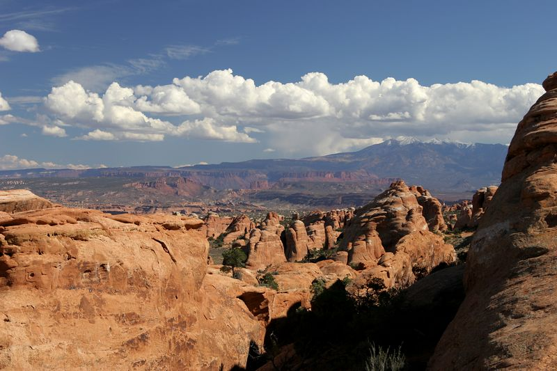 Utah, Arches National Park, La Sal Mountains in the distance