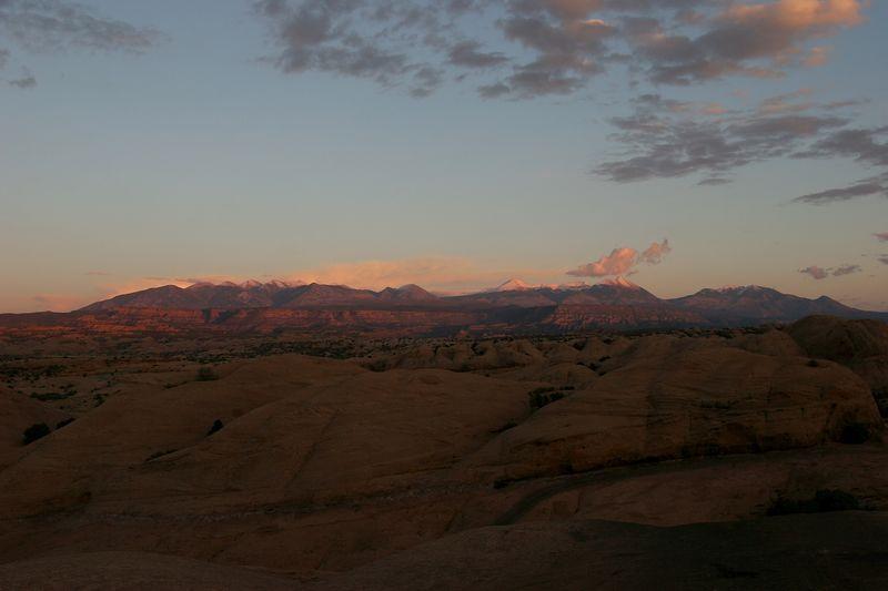 Utah, Moab, Hell's Revenge, La Sal Mountains, Sunset