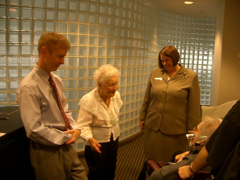 At the Landmark senior home on LSD in Chicago. Kevin (social director) and Lilly (98) give us the talk. Marsha, sales rep, looks on.