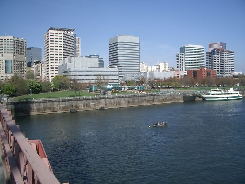 View of downtown Portland from the Hawthorne Bridge