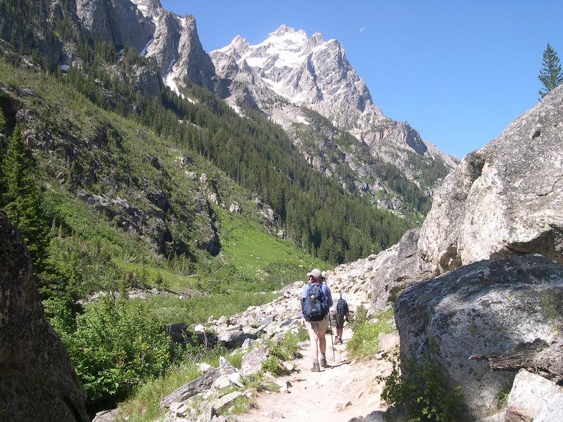 Hiking up Cascade Canyon