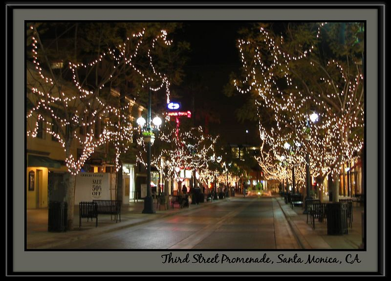 Third Street Promenade with lit up trees nt [borders, text, x-plain black frame]