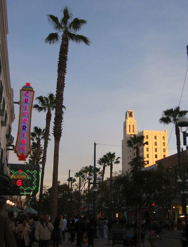 Third Street Promenade near sunset - theatre and white building
