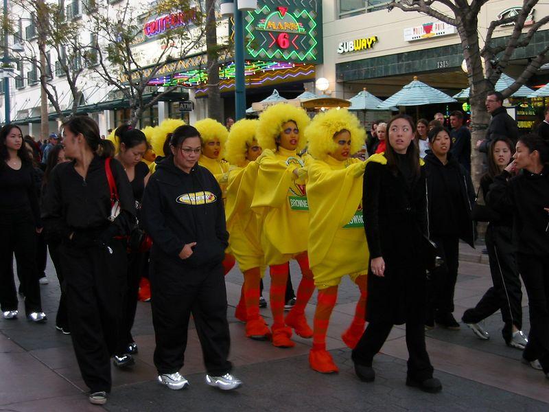 00aFavorite Group of I think sorority initiates dressed as Big Bird singing silly songs on Santa Monica's Third Street Promenade