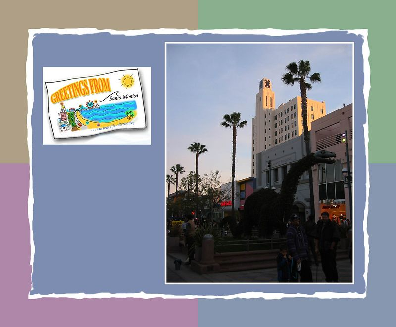 00aFavorite Dinosaur on Third Street Promenade with white building reflecting sunset [borders, clipart from web, color block 01 frame]