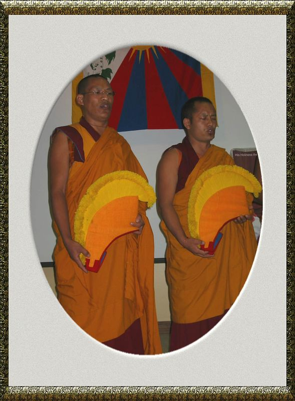 Two monks chanting [antique gold frame]