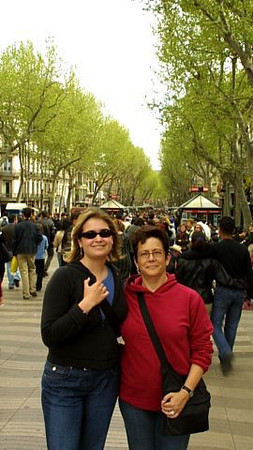 Claire and Radha on Las Ramblas