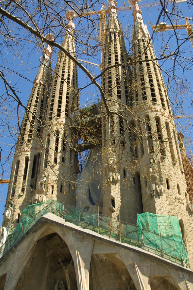 Barcelona<br /> Sagrada Familia -  church by Gaudi - under constuction for over 100 years