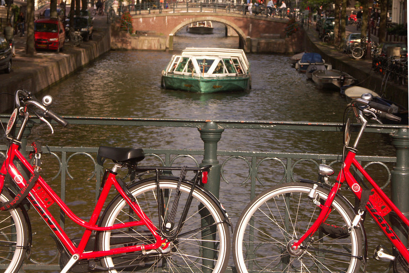 Lori and I took a hi-speed train from from Frankfurt to Amsterdam. There are canals throughout Amsterdam. Aside from these waterways, bicycles are probably the most dominant mode of transprotation.