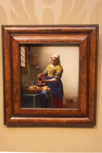 Besides canals, Amsterdam is known for a number of things including wonderful museums. This paining by Vermeer is in the Rijksmuseum.