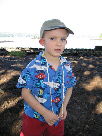 Henry loved the free shell lei he was given at Hilo Hattie's.