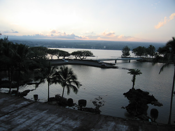 The skies over Hilo were uncharacteristically clear while we were there. This was the view from our hotel room. Mauna Kea is visible in the background.