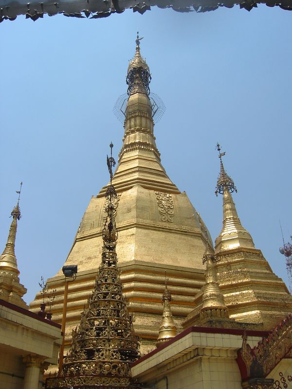 We began our tour through Myanmar (formerly Burma) in the capitol city of Yangon (formerly Rangoon).  Our first stop was the impressive Sule Pagoda, in the heart of downtown Yangon.  Built almost 2000 years ago it is believed to contain a hair from Buddha's head.