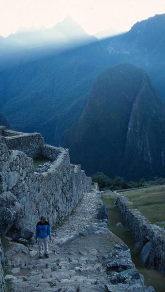 Missy ascending steps at Machu Piccu