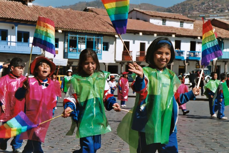 Kids on parade in Cusco