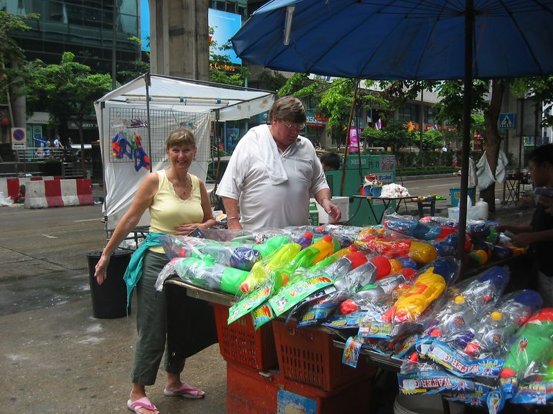 Back in Bangkok Larry helped us pick out our armaments in preparation to participate in the annual Songkran Water Festival.