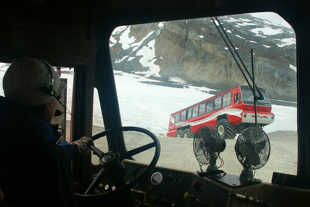 Transportation returning from the Athabasca Glacier in the Columbia Icefield.