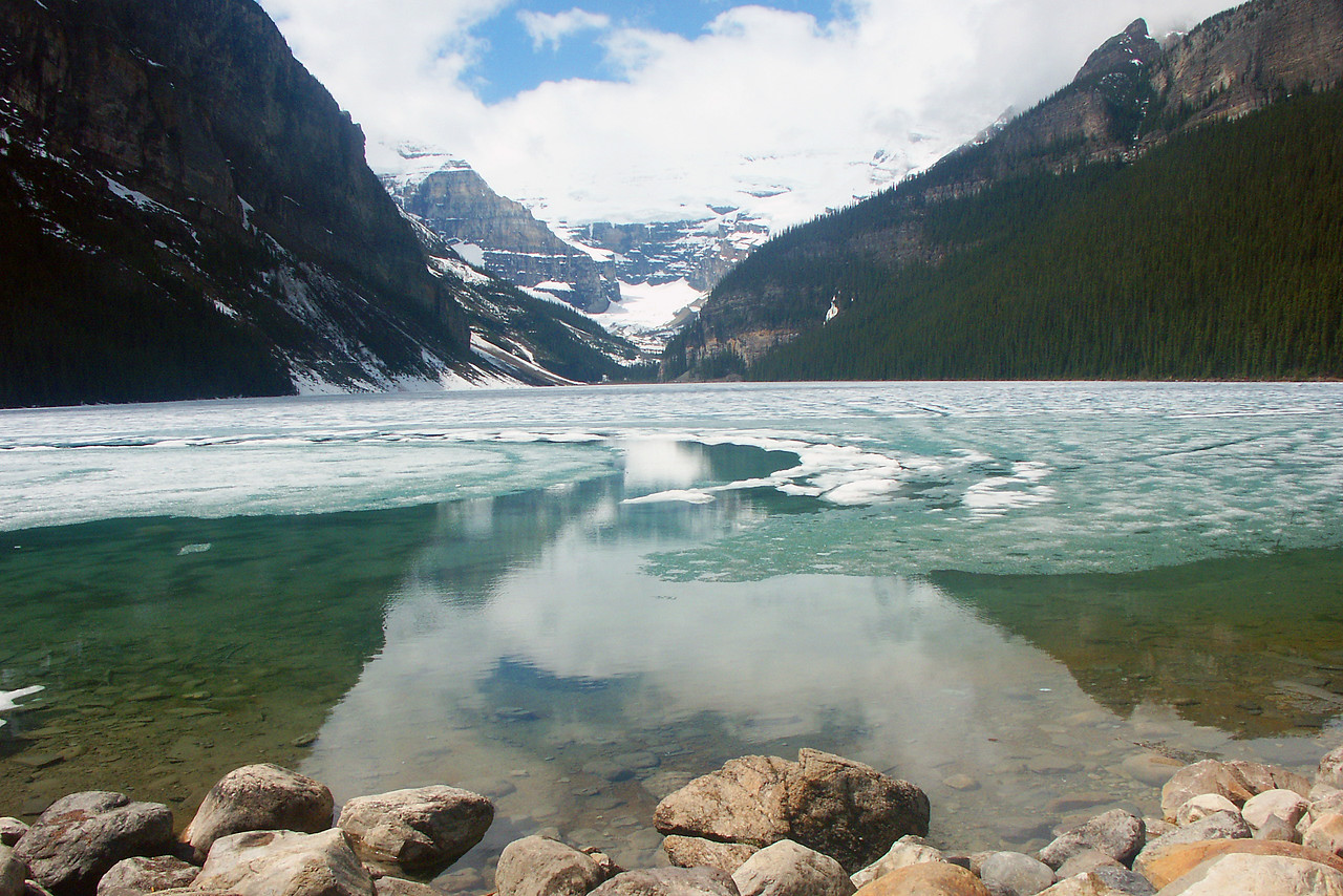 A closer view of Lake Louise still frozen in mid May.