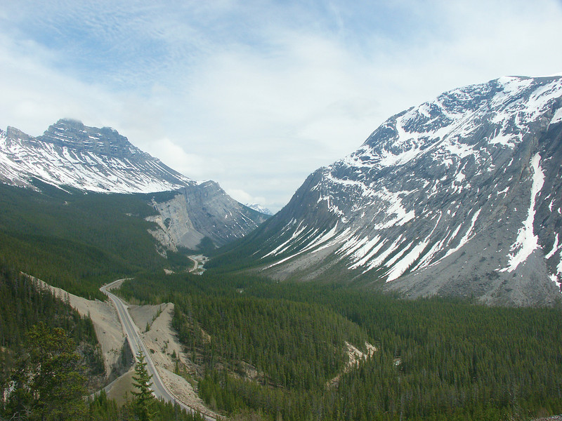 ROADS THROUGH THE ROCKIES: On the Icefield Parkway North of Lake Louise.