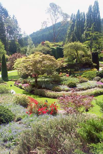Sunken gardens at Butchart Gardens outside Victoria.