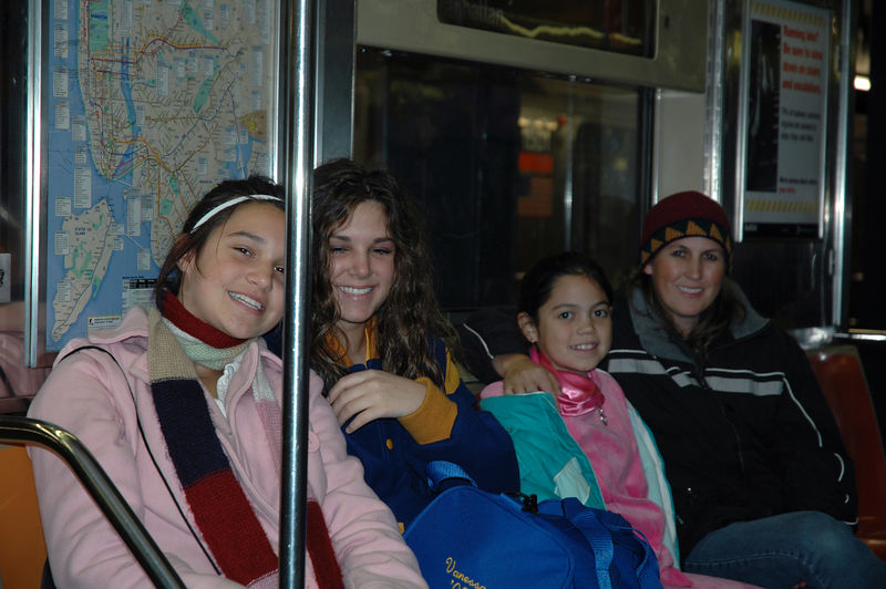 Cassandra, Vanessa, Krista and Kristi in a subway in New York.  It took a while to get to this point.  We got lost in New Jersey.
