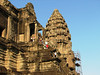 To get to the top of the Angkor Wat complex involves negotiating a very steep set of stairs.