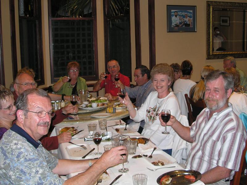 John Sievers (foreground); Barb & Nick Wambach; Al Oliva; Rhonda & Don Wehmeyer - Farewell dinner
