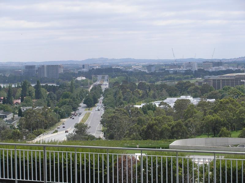 Parliament building toward Canberra city center