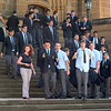 School boys leaving week-day mass at St. Mary's