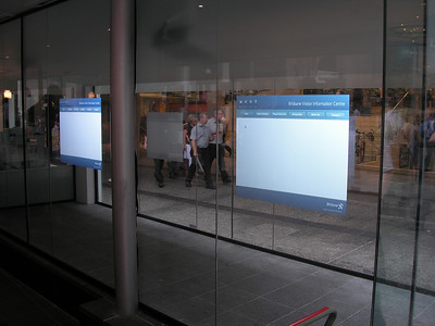 Touch screen in windows at Brisbane Info Centre