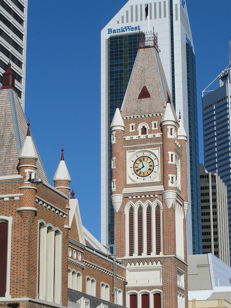 Clock tower at Hay Street entrance of London Court - Perth