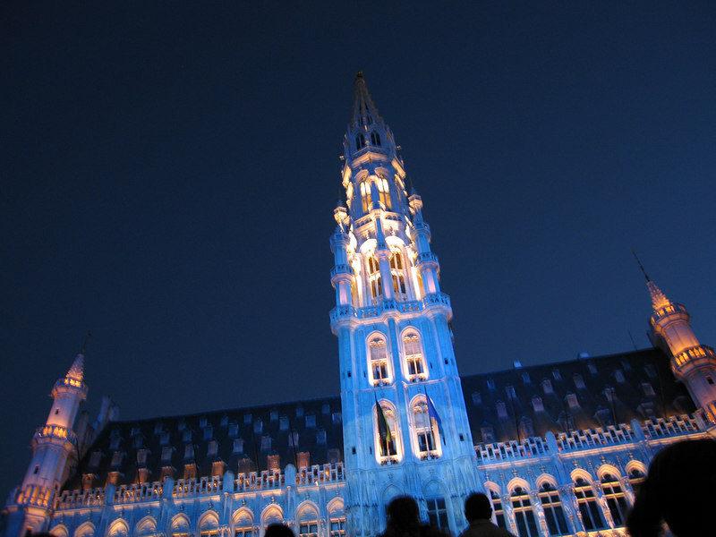 The light show at the Grand Place with the Hotel de Ville as canvas.