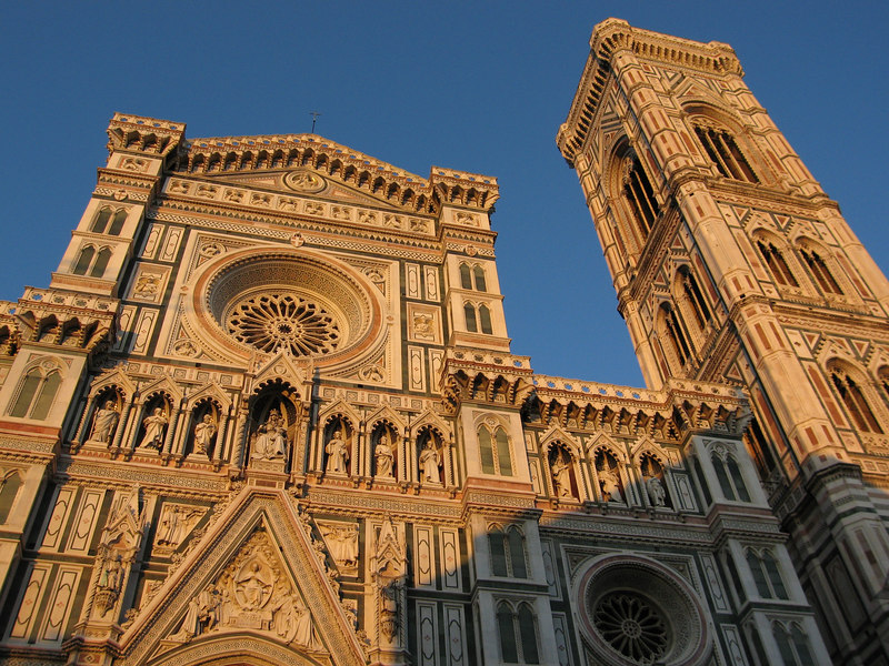 The front face of the Duomo bathed in late sunset