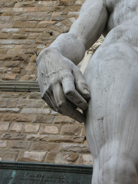 A close-up of the replica David's right hand outside Palazzo Vecchio.