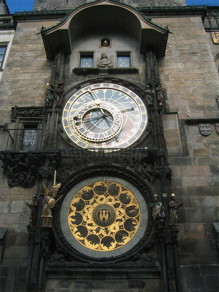 The Astronomical Clock of Prague.  Please note, I did not take this photograph.  I don't know who did, I ripped it off from somewhere on the web.  When I got back home, I realized I didn't have a good picture of the clock  so I took this one.  This is the only photo on this site which is not my own.  I felt a good photograph of the clock was essential for this set on Prague.  I didn't think there would be an audience outside of friends/family.  Just for the sake of full disclosure...