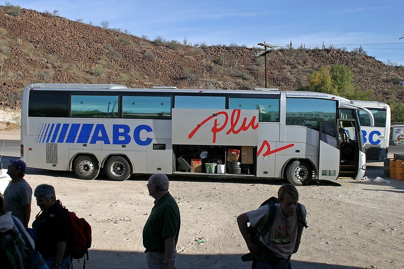 Shuttle from San Diego to Tijuana, where we boarded the night's Tijuana/La Paz bus. Stop close to San Ignacio.